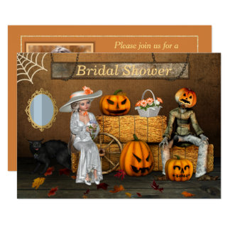 Halloween Wedding Photo Bridal Shower Card