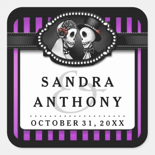 Halloween Wedding Purple Black Striped Skeletons Square Sticker