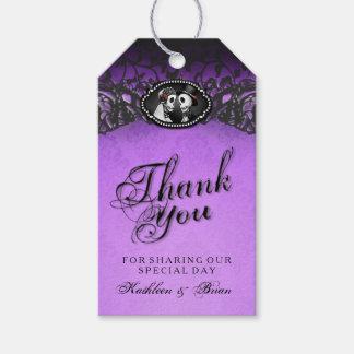 Halloween Wedding Purple Black Thank You Tags