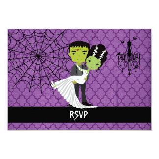 Halloween Wedding RSVP Bride of Frankenstein Card