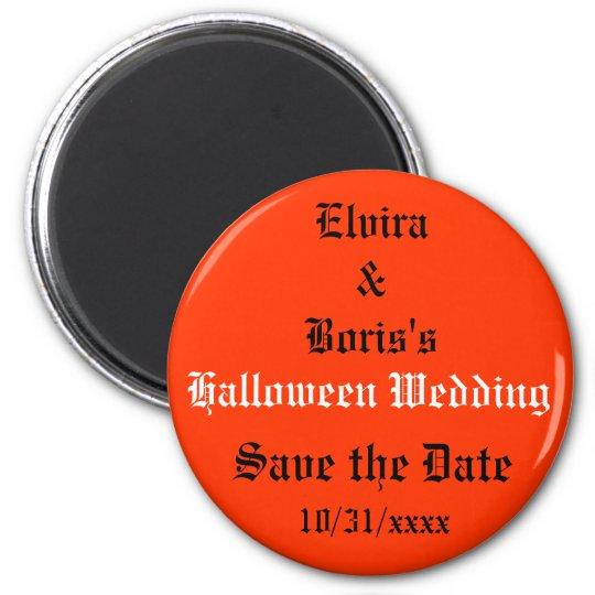Halloween Wedding Save the Date 6 Cm Round Magnet