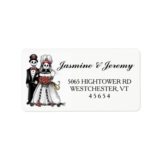 Halloween Wedding Skeleton Couple Address Labels