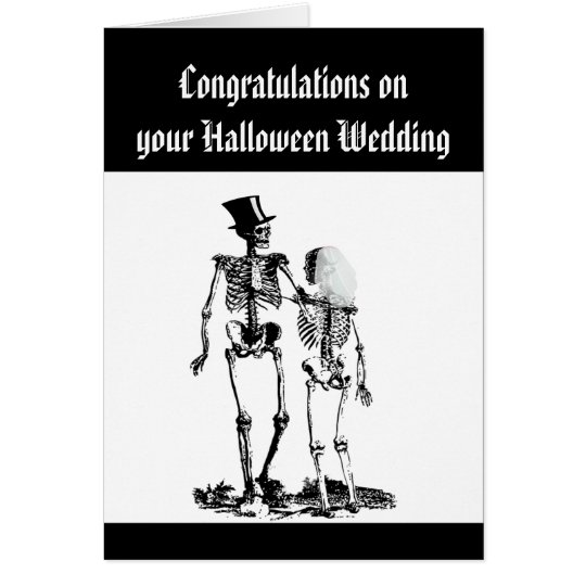 Halloween Wedding Skeleton Couple Congratulations Card