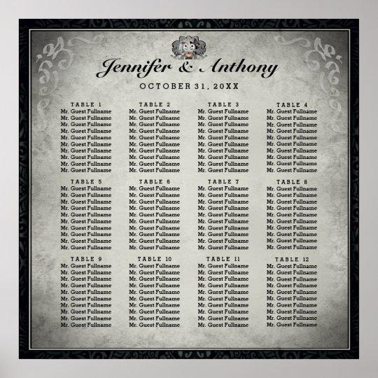 Halloween Wedding Skeletons Grey Seating Chart Poster