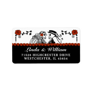 Halloween Wedding Skeletons Red Roses Address Label