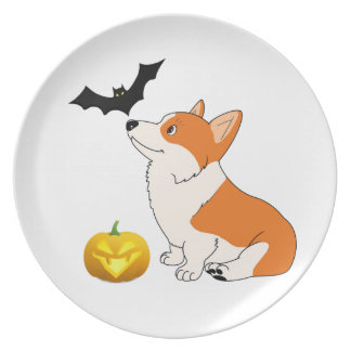Halloween Welsh Corgi Plate