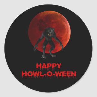 Halloween Werewolf Lycan Red Blood Moon Dripping Classic Round Sticker