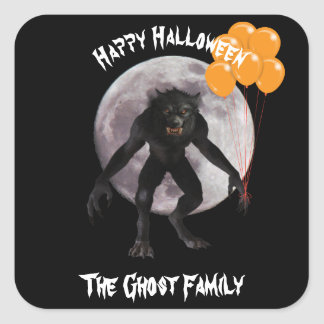 Halloween Werewolf Square Sticker