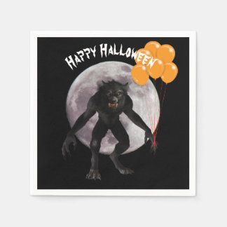 Halloween Werewolf With Balloons Disposable Serviettes