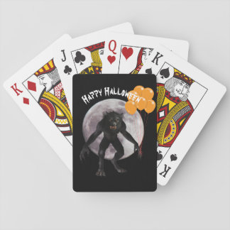 Halloween Werewolf With Balloons Playing Cards