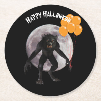 Halloween Werewolf With Balloons Round Paper Coaster