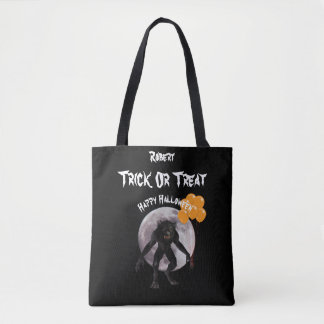 Halloween Werewolf With Balloons Trick or Treat Tote Bag