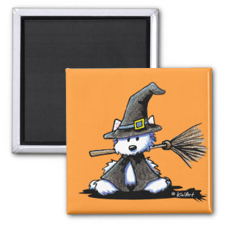Halloween Westie Witch Square Magnet