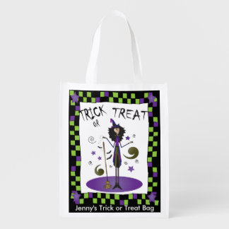 Halloween Whimsical Witch Illustration Reusable Grocery Bag