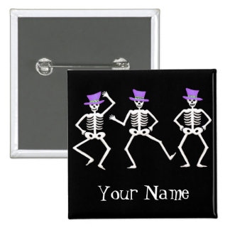 Halloween Whimsy Dancing Skeletons Name Badge Buttons
