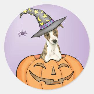 Halloween Whippet Classic Round Sticker
