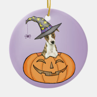 Halloween Whippet Round Ceramic Decoration