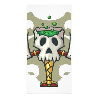 Halloween White Monster Skull Goblet Customised Photo Card