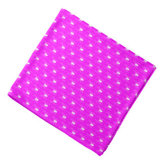 Halloween White Spiders on Pink Bandana