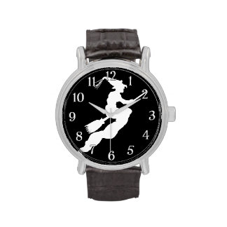 Halloween White Witch on Black Clock Face Watches