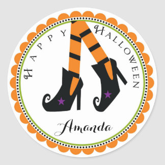 Halloween Wicked Witch heel shoe stickers labels