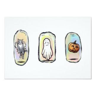 Halloween winged cat, ghost, pumpkin paintings art 13 cm x 18 cm invitation card