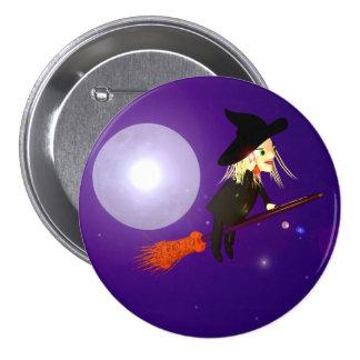 Halloween Wireless Witch 7.5 Cm Round Badge