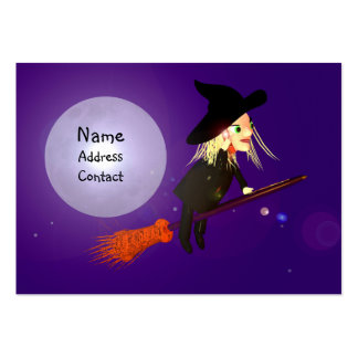 Halloween Wireless Witch - Chubby Size Business Card Template
