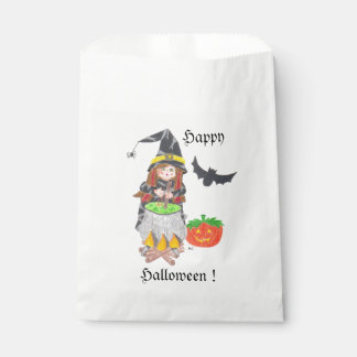 Halloween witch 1 white favor bag favour bags