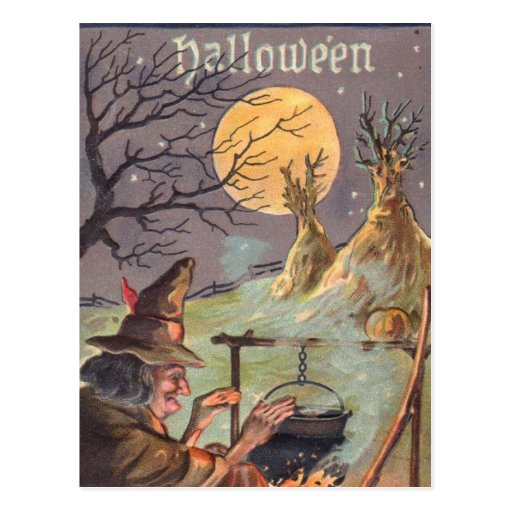 Halloween Witch - A Scary Night out - Vintage Art Post Card