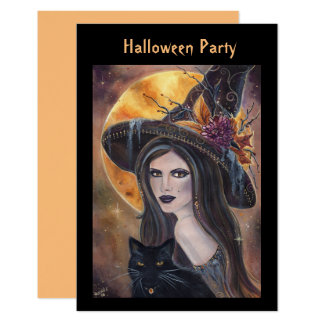 Halloween witch and black cat invitations  Renee