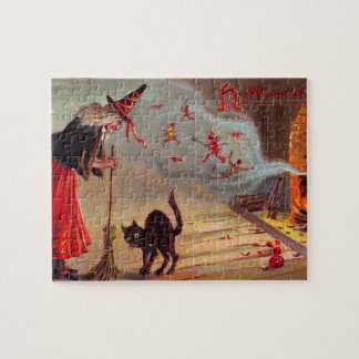 Halloween Witch and Black Cat Jigsaw Puzzle