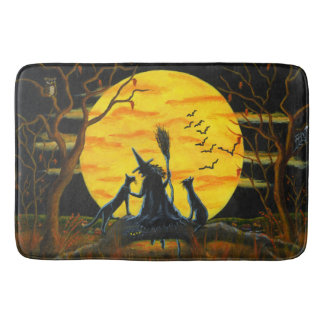 Halloween witch and black cats bath mat