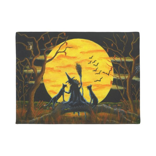 Halloween witch and black cats door mat