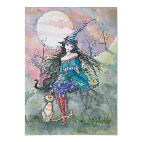 Halloween Witch and Cats Poster by Molly Harrison