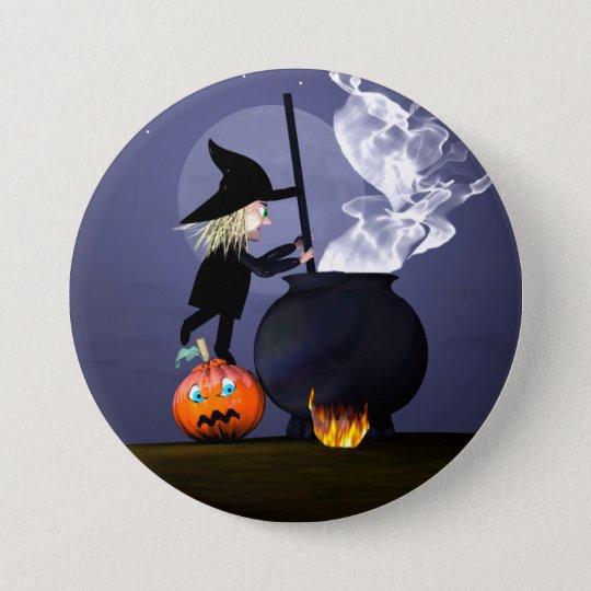 Halloween Witch and Cauldron 7.5 Cm Round Badge