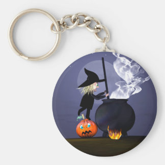 Halloween Witch and Cauldron Key Ring
