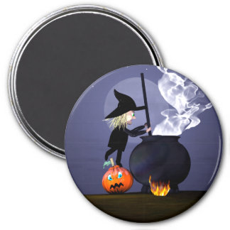 Halloween Witch and Cauldron Magnet