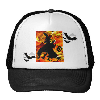 Halloween Witch and Fall Leaves Trucker Hat