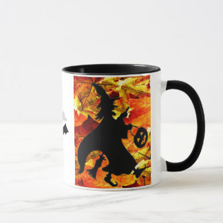Halloween Witch and Fall Leaves Mug