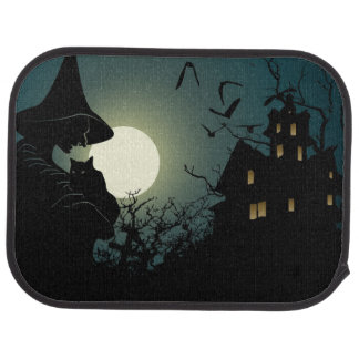 Halloween: witch and hounted house car mat