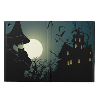 Halloween: witch and hounted house cover for iPad air