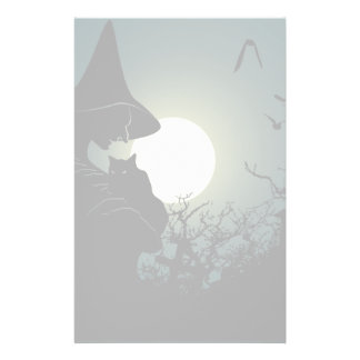 Halloween: witch and hounted house stationery