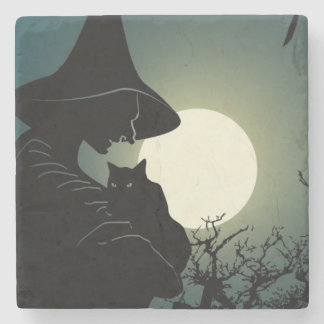 Halloween: witch and hounted house stone coaster