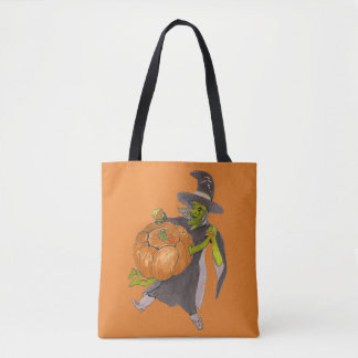Halloween Witch and Pumpkin Dance Funny Designed Tote Bag