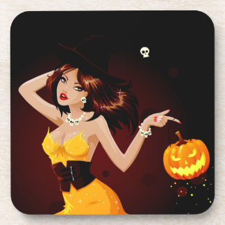 Halloween Witch and Pumpkin Drink Coasters
