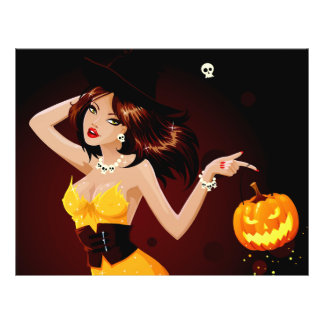 Halloween Witch and Pumpkin 21.5 Cm X 28 Cm Flyer