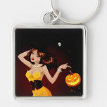 Halloween Witch and Pumpkin Silver-Colored Square Key Ring