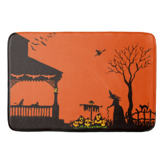 Halloween witch and scarecrow bath mat