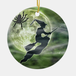 Halloween Witch and Spider Round Ceramic Decoration